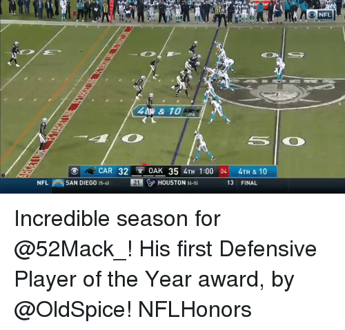 Memes, San Diego, and 🤖: & 10  o CAR 32  OAK 35 4TH 1:00 04  4TH & 10  NFL SAN DIEGO is 121 HOUSTON  6-5)  13 FINAL  NFL Incredible season for @52Mack_! His first Defensive Player of the Year award, by @OldSpice! NFLHonors