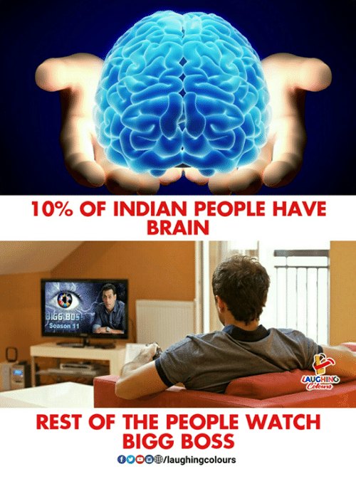 Brain, Watch, and Indian: 10% OF INDIAN PEOPLE HAVE  BRAIN  Season 11  AUGHING  REST OF THE PEOPLE WATCH  BIGG BOSS  0OOO/laughingcolours
