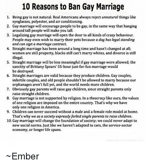 Legal Reasons To Get Married: 10 Reasons To Ban Gay Marriage 1 Being Gay Is Not Natural