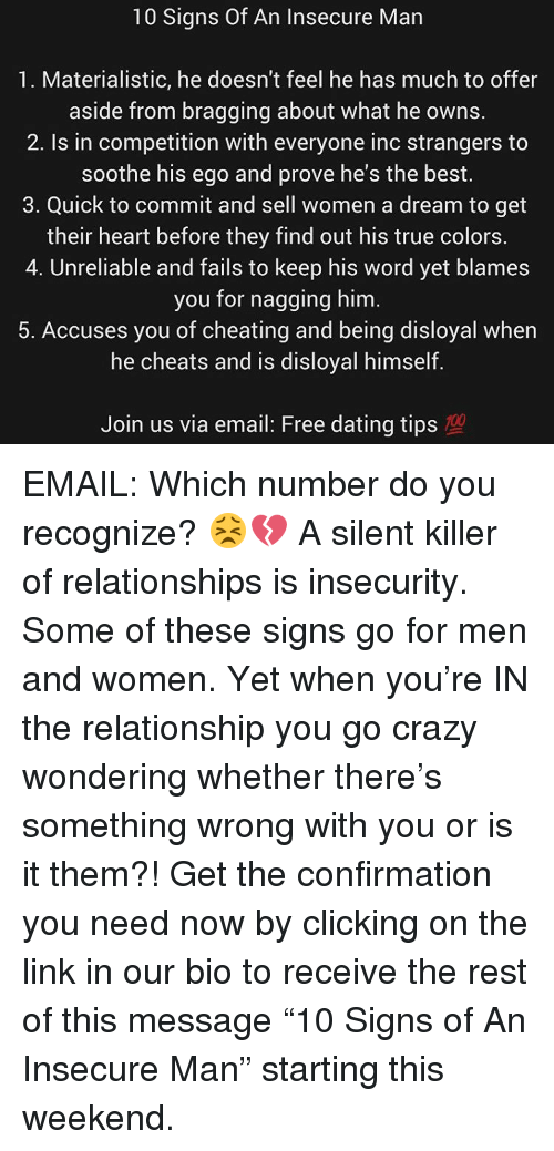 50 signs youre dating a crazy guy Don't ignore the signs if you're dating someone who displays any with good sense: 9 signs that your man might be crazy meet with another guy.