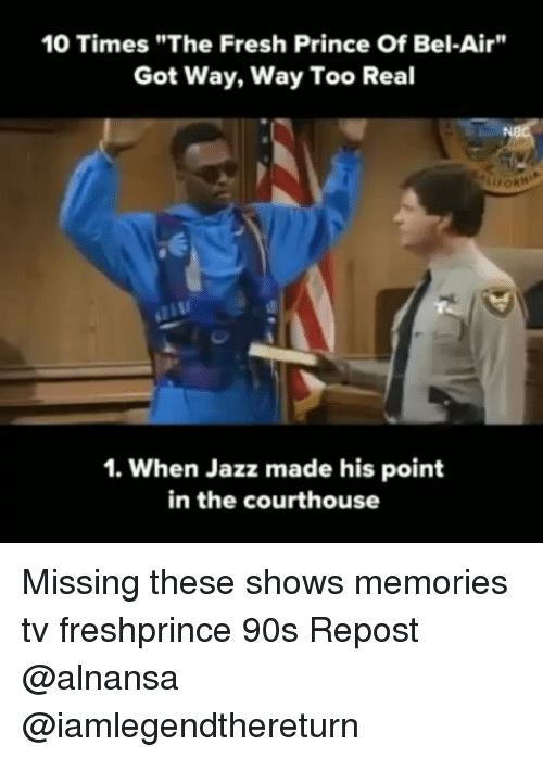 "Fresh Prince of Bel-Air: 10 Times""The Fresh Prince Of Bel-Air""  Got Way, Way Too Real  1. When Jazz made his point  in the courthouse Missing these shows memories tv freshprince 90s Repost @alnansa @iamlegendthereturn"