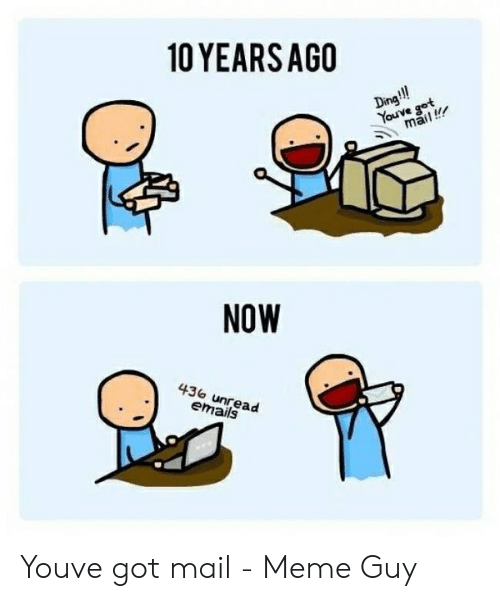 You Ve Got Mail Meme: 10 YEARSAGO  Dino  ouve got  mail!  NOW  436 unread  emails Youve got mail - Meme Guy