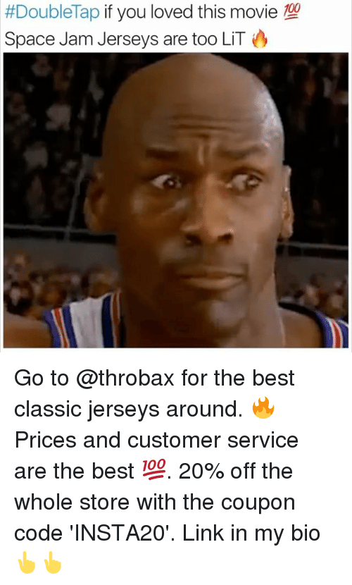 space-jams: 100  #Doublelap if you loved this movie  Space Jam Jerseys are too LIT Go to @throbax for the best classic jerseys around. 🔥Prices and customer service are the best 💯. 20% off the whole store with the coupon code 'INSTA20'. Link in my bio 👆👆