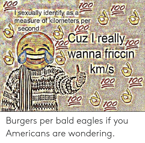 Kilometers Per Second: 100  Isexually identify as a  measure of kilometers per  second  100  Cuz lreallyo  wanna friccin  km/s  100  100  T00 Burgers per bald eagles if you Americans are wondering.