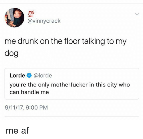 floored: 100  @vinnycrack  me drunk on the floor talking to my  dog  Lorde e》 @lorde  you're the only motherfucker in this city who  can handle me  9/11/17, 9:00 PM me af