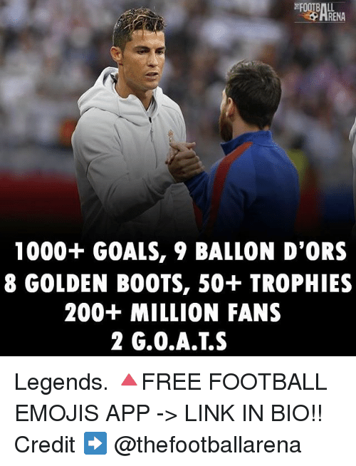 Bailey Jay, Football, and Goals: 1000+ GOALS, 9 BALLON D'ORS  8 GOLDEN BOOTS, 50+ TROPHIES  200+ MILLION FANS  2 G.0.A.T.S Legends. 🔺FREE FOOTBALL EMOJIS APP -> LINK IN BIO!! Credit ➡️ @thefootballarena