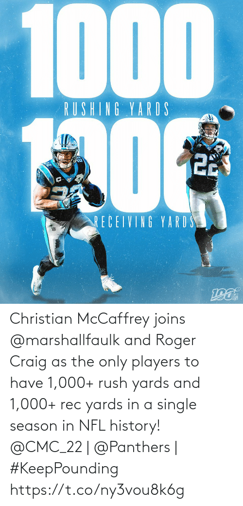 Christian: 1000  RUSHING YARDS  22  RECEIVING YARD S Christian McCaffrey joins @marshallfaulk and Roger Craig as the only players to have 1,000+ rush yards and 1,000+ rec yards in a single season in NFL history!  @CMC_22 | @Panthers | #KeepPounding https://t.co/ny3vou8k6g