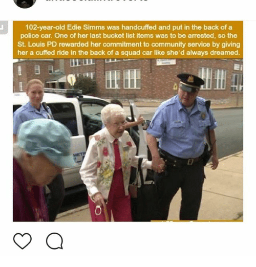 102 year old edie simms was handcuffed and put in the back. Black Bedroom Furniture Sets. Home Design Ideas