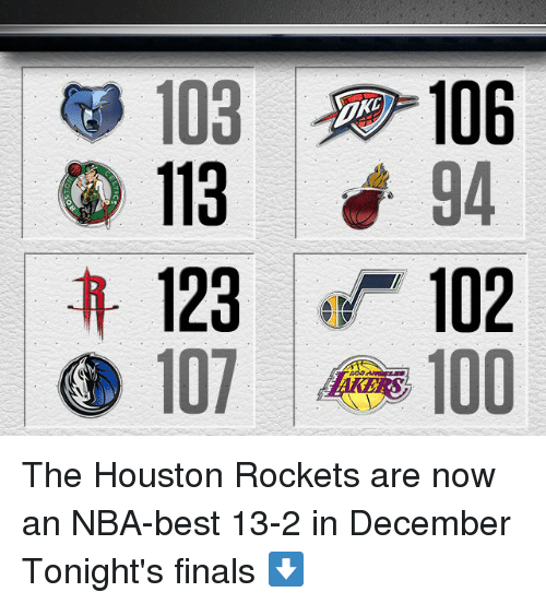 houston rocket: 103  106  113  94  123 102  107 100 The Houston Rockets are now an NBA-best 13-2 in December  Tonight's finals ⬇️