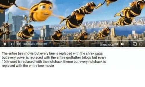 The Nutshack : 10361622 00  @keakopp  The entire bee movie but every bee is replaced with the shrek saga  but every vowel is replaced with the entire godfather trilogy but every  10th word is replaced with the nutshack theme but every nutshack is  replaced with the entire bee movie