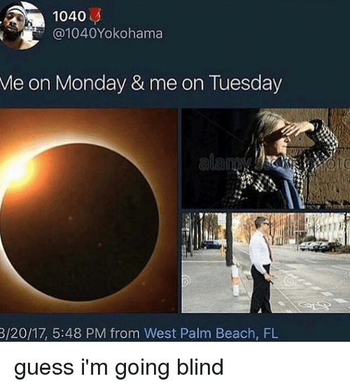 Memes, Beach, and Guess: 1040  1040Yokohama  Me on Monday & me on Tuesday  3/20/17, 5:48 PM from West Palm Beach, FL guess i'm going blind