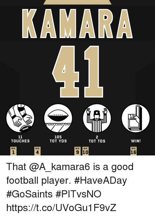 Football Player: 105  TOT YDS  2  TOT TDS  TOUCHES  WIN!  WK  WK  WK WK  WK  1  4  16 That @A_kamara6 is a good football player. #HaveADay  #GoSaints #PITvsNO https://t.co/UVoGu1F9vZ