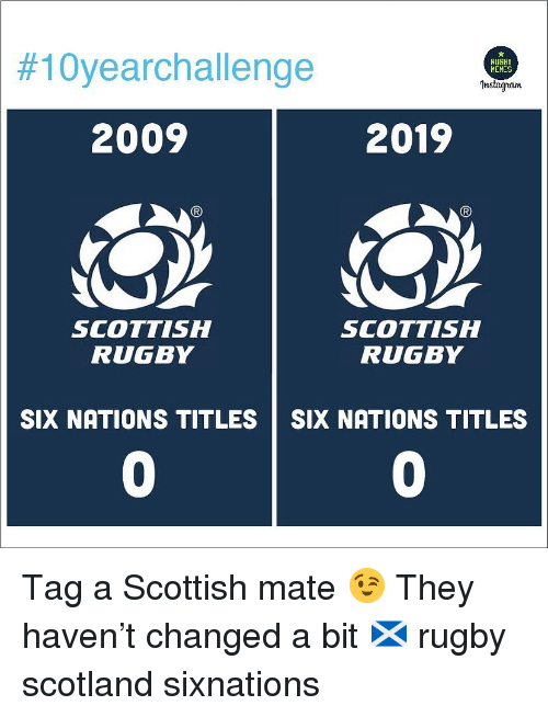Rugby:  #10yearchallenge  RUGBY  HEMES  Instagran  2009  2019  SCOTTISH  RUGBY  SCOTTISH  RUGBY  SIX NATIONS TITLES SIX NATIONS TITLES  0  0 Tag a Scottish mate 😉 They haven't changed a bit 🏴󠁧󠁢󠁳󠁣󠁴󠁿 rugby scotland sixnations