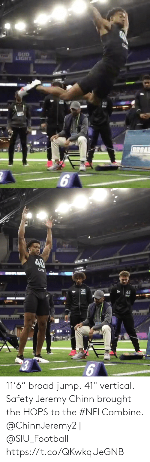 """hops: 11'6"""" broad jump. 41"""" vertical.  Safety Jeremy Chinn brought the HOPS to the #NFLCombine.  @ChinnJeremy2 