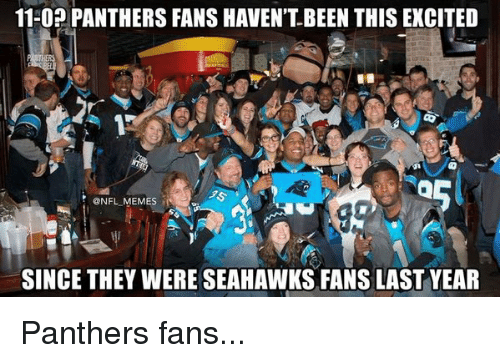 Seahawks Fan: 11-0? PANTHERS FANS HAVEN'T BEEN THIS EXCITED  NFL MEMES  SINCE THEY WERE SEAHAWKS FANS LAST YEAR Panthers fans...