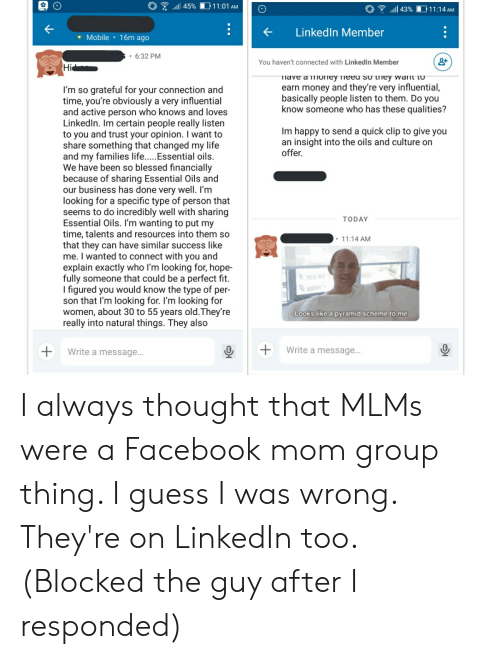 So Blessed: 11:01 AM  l 45%  il 43%  11:14 AM  LinkedIn Member  Mobile 16m ago  6:32 PM  You haven't connected with Linked In Member  Hi  Tiave a ioney fieed So they wanmt to  earn money and they're very influential,  basically people listen to them. Do you  know someone who has these qualities?  I'm so grateful for your connection and  time, you're obviously a very influential  and active person who knows and loves  LinkedIn. Im certain people really listen  to you and trust your opinion. I want to  share something that changed my life  and my families life.....Essential oils.  We have been so blessed financially  because of sharing Essential Oils and  our business has done very well. I'm  looking for a specific type of person that  seems to do incredibly well with sharing  Essential Oils. I'm wanting to put my  time, talents and resources into them so  that they can have similar success like  me. I wanted to connect with you and  explain exactly who I'm looking for, hope-  fully someone that could be a perfect fit.  I figured you would know the type of per-  son that I'm looking for. I'm looking for  women, about 30 to 55 years old.They're  really into natural things. They also  Im happy to send a quick clip to give you  an insight into the oils and culture on  offer.  TODAY  11:14 AM  Looks like a pyramid scheme to me  Write a message...  Write a message... I always thought that MLMs were a Facebook mom group thing. I guess I was wrong. They're on LinkedIn too. (Blocked the guy after I responded)