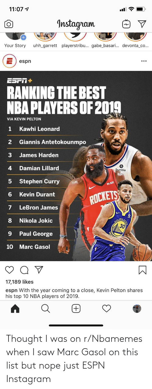 gol: 11:07 4  Instagram  Your Story  uhh_garrett playerstribu... gabe_basari. devonta_co...  E) espn  ESPT+  RANKING THE BEST  NBA PLAYERS OF 2019  VIA KEVIN PELTON  Kawhi Leonard  Giannis Antetokounmpo  3  James Harden  Damian Lillard  bumble  Stephen Curry  RO KIT  Kevin Durant  ROCKETS  LeBron James  DEN  Nikola Jokic  GOL  30  Paul George  10 Marc Gasol  17,189 likes  espn With the year coming to a close, Kevin Pelton shares  his top 10 NBA players of 2019.  STATE Thought I was on r/Nbamemes when I saw Marc Gasol on this list but nope just ESPN Instagram