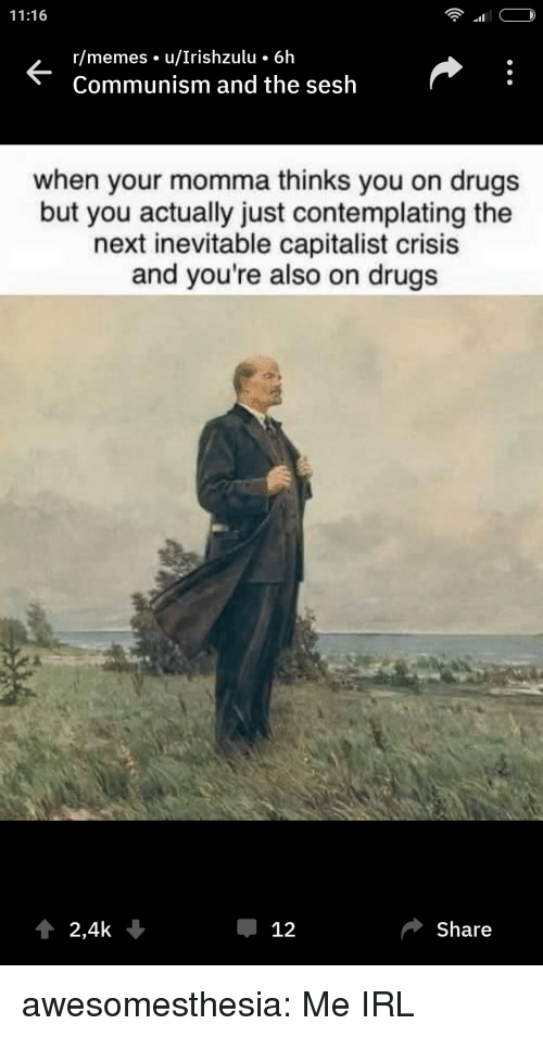 Your Momma: 11:16  r/memes u/Irishzulu 6h  Communism and the sesh  when your momma thinks you on drugs  but you actually just contemplating the  next inevitable capitalist crisis  and you're also on drugs  2,4k  Џ 12  Share awesomesthesia:  Me IRL