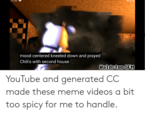 Meme Videos: 11:25  S AIR  E  mood centered kneeled down and prayed  Chili's with second house  Waldston SFM  A YouTube and generated CC made these meme videos a bit too spicy for me to handle.