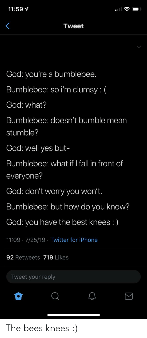 bees knees: 11:59  Tweet  God: you're a bumblebee.  Bumblebee: so i'm clumsy: (  God: what?  Bumblebee: doesn't bumble mean  stumble?  God: well yes but-  Bumblebee: what if I fall in front of  everyone?  God: don't worry you won't.  Bumblebee: but how do you know?  God: you have the best knees :)  11:09 7/25/19 Twitter for iPhone  92 Retweets 719 Likes  Tweet your reply The bees knees :)