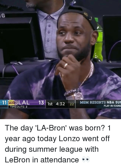 mgm: 11% LAL 131  4:3222 MGM RESORTS NBA SUN  MGM RESORTS NBA SU  1st  TIMEOUTS: 2  PLAY-IN ROUND The day 'LA-Bron' was born?  1 year ago today Lonzo went off during summer league with LeBron in attendance 👀