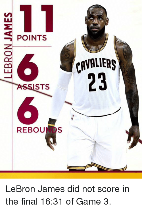 LeBron James, Memes, and Cavaliers: 11  POINTS  CAVALIERS  23  ASSISTS  REBOUN s LeBron James did not score in the final 16:31 of Game 3.
