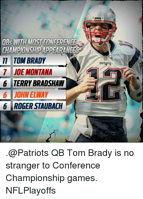 Joe Montana: 11 TOM BRADY  JOE MONTANA  7777777777777777777777777777777777777777  6 TERRY BRADSHAW  6 JOHN ELWAY  6 ROGER STAUBACH  PATR .@Patriots QB Tom Brady is no stranger to Conference Championship games. NFLPlayoffs