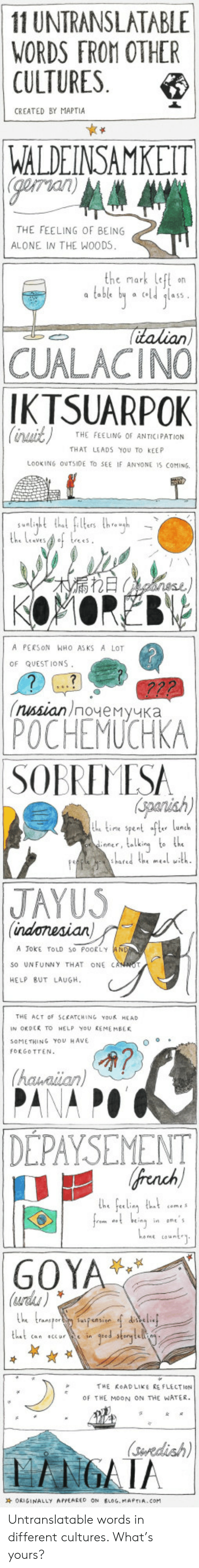Goya: 11 UNTRANSLATABLE  WORDS FROM OTHER  CULTURES  CREATED BY MAPTIA  WALDEINSAMKEIT  gorian  THE FEELING OF BEING  ALONE IN THE WOODS  the mark left on  a table by a old lass  italian  CUALACINO  IKTSUARPOK  Cinait)  THE FEELING OF ANTICIPATION  THAT LEADS YOU TO KEEP  LOOKING OUTSIDE TO SEE IF ANYONE 1S COMING  rht tht fles thgh  the LevesA of trees  RECanene  A PERSON WHO AS KS A LOT  OF QUEST IONS  (пиsian)noчемучка  POCHEMUCHKA  SOBREMESA  iperish)  t time spent ft lunch  iner, telking to the  lared he meal with  JAYUS  (indonesian  A JokE TOLD so POORLY  so UNFUNNY THAT ONE CANNO  HELP BUT LAUGH  (hauniian  DEPAYSEMENT  french  he feeling thut  from nsing inane's  ome count  GOYA  (urds)  he transperpnsion delif  tat can ccar in geed storytelli  THE ROADLIKE RE FLECTION  OF THE MOON ON THE WATER  (Seredish  GATA Untranslatable words in different cultures. What's yours?