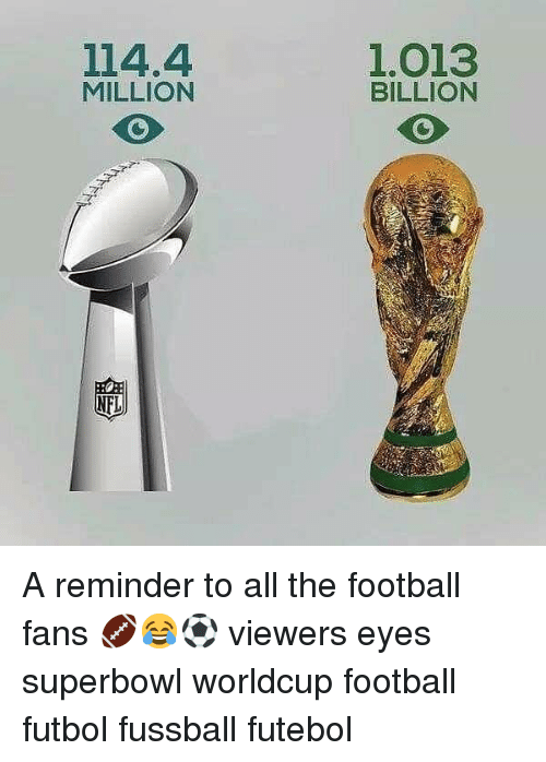 Worldcup: 114.4  MILLION  1.013  BILLION A reminder to all the football fans 🏈😂⚽️ viewers eyes superbowl worldcup football futbol fussball futebol