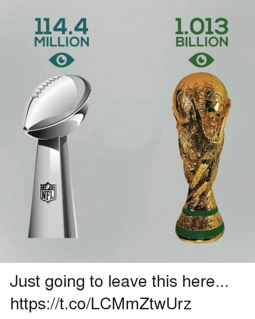 Nfl, Soccer, and Billion: 114.4  MILLION  1.013  BILLION  NFL Just going to leave this here... https://t.co/LCMmZtwUrz