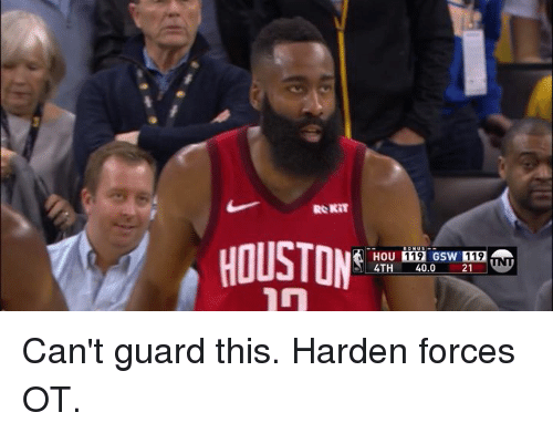 gsw: 119 GSW 119  4TH 40.0 21 Can't guard this.  Harden forces OT.