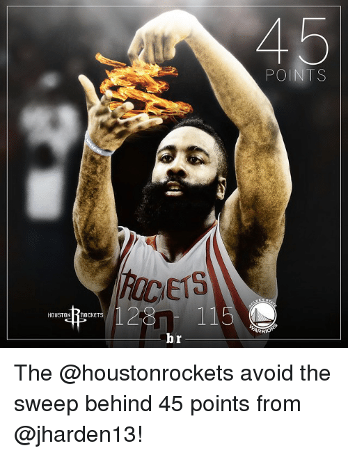 houston rocket: 12 115  HOUSTON  ROCKETS  br  POINTS The @houstonrockets avoid the sweep behind 45 points from @jharden13!