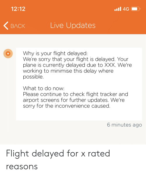 Flight Delayed: 12:12  4G  Live Updates  ВЛСК  Why is your flight delayed:  We're sorry that your flight is delayed. Your  plane is currently delayed due to XXX. We're  working to minimise this delay where  possible.  What to do now:  Please continue to check flight tracker and  airport screens for further updates. We're  sorry for the inconvenience caused.  6 minutes ago Flight delayed for x rated reasons