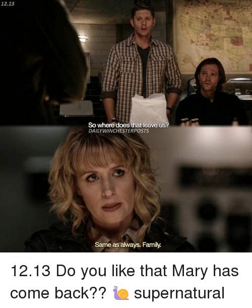 Do You Like: 12.13  So where does that leave us?  DAILY WINCHESTERPOSTS  Same as always. Family 12.13 Do you like that Mary has come back?? 🐌 supernatural