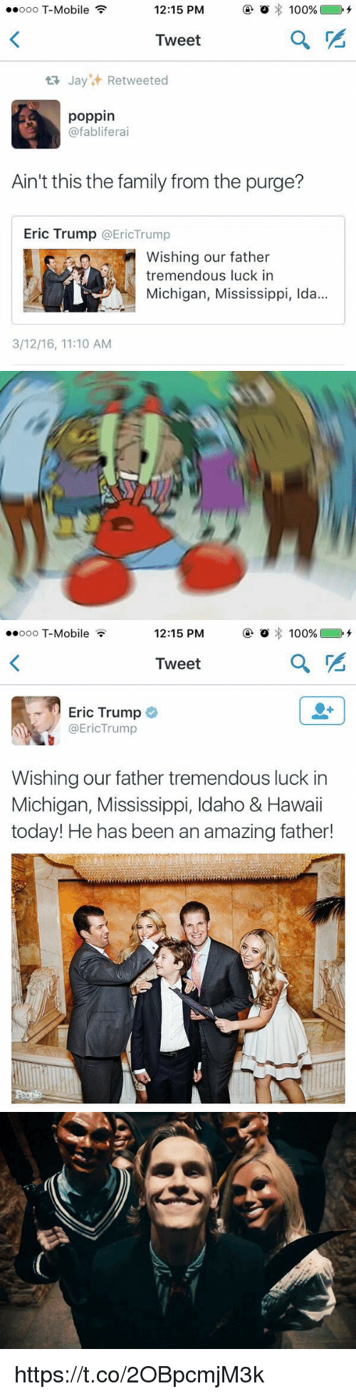 The Purge: 12:15 PM  o 100%  ooo T-Mobile  Tweet  ta Jay Retweeted  poppin  @fabliferai  Ain't this the family from the purge?  Eric Trump  EricTrump  Wishing our father  tremendous luck in  Michigan, Mississippi, Ida...  3/12/16, 11:10 AM   12:15 PM  o 100%  ooo T-Mobile  Tweet  Eric Trump  @EricTrump  Wishing our father tremendous luck in  Michigan, Mississippi, Idaho & Hawaii  today! He has been an amazing father!   as https://t.co/2OBpcmjM3k