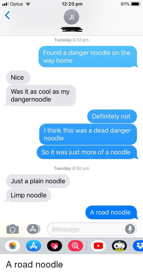 Dangernoodle: 12:20 pm  91%  JI  Tuesday 6:12 pm  Found a danger noodle on the  way home  Nice  Was it as cool as my  dangernoodle  Definitely not  I think this was a dead danger  noodle  So it was just more of a noodle  Tuesday 8:50 pm  Just a plain noodle  Limp noodle  A road noodle  iMessage