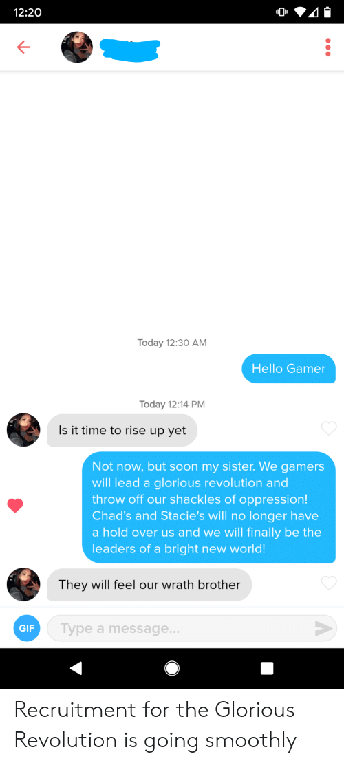 Glorious: 12:20  Today 12:30 AM  Hello Gamer  Today 12:14 PM  Is it time to rise up yet  Not now, but soon my sister. We gamers  will lead a glorious revolution and  throw off our shackles of oppression!  Chad's and Stacie's will no longer have  a hold over us and we will finally be the  leaders of a bright new world!  They will feel our wrath brother  Type a message...  GIF  A Recruitment for the Glorious Revolution is going smoothly