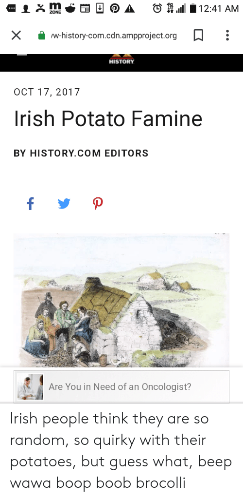 brocolli: 12:41 AM  ...  ZONE  X  w-history-com.cdn.ampproject.org  HISTORY  OCT 17, 2017  Irish Potato Famine  BY HISTORY.COM EDITORS  f  P  Are You in Need of an Oncologist? Irish people think they are so random, so quirky with their potatoes, but guess what, beep wawa boop boob brocolli