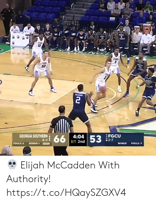Georgia: 12  FEC  32  2  GEORGIA SOUTHERN  FGCU  2-7  4:04  66  53  4-3  0:11 2nd  FOULS  BONUS  BONUS  FOULS: 9 💀 Elijah McCadden With Authority!    https://t.co/HQaySZGXV4