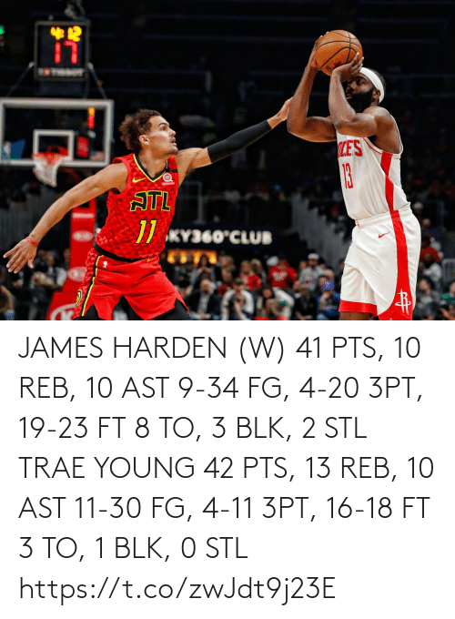 stl: 12  LES  13  ATL  // KY360°CLUB JAMES HARDEN (W) 41 PTS, 10 REB, 10 AST 9-34 FG, 4-20 3PT, 19-23 FT 8 TO, 3 BLK, 2 STL  TRAE YOUNG 42 PTS, 13 REB, 10 AST 11-30 FG, 4-11 3PT, 16-18 FT 3 TO, 1 BLK, 0 STL https://t.co/zwJdt9j23E