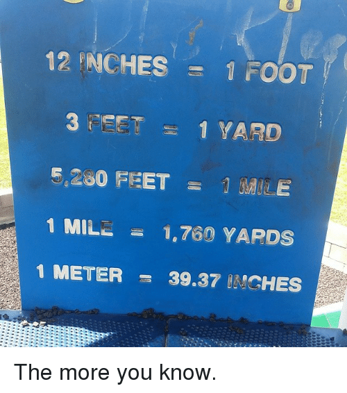The More You Know, Dank Memes, and Feet: 12 RANCHES  1 FOOT  3 t EET 1 YARD  G.230 FEET  1 MILL  1.760 YARDS  1 METER  39.37 ANGHES The more you know.