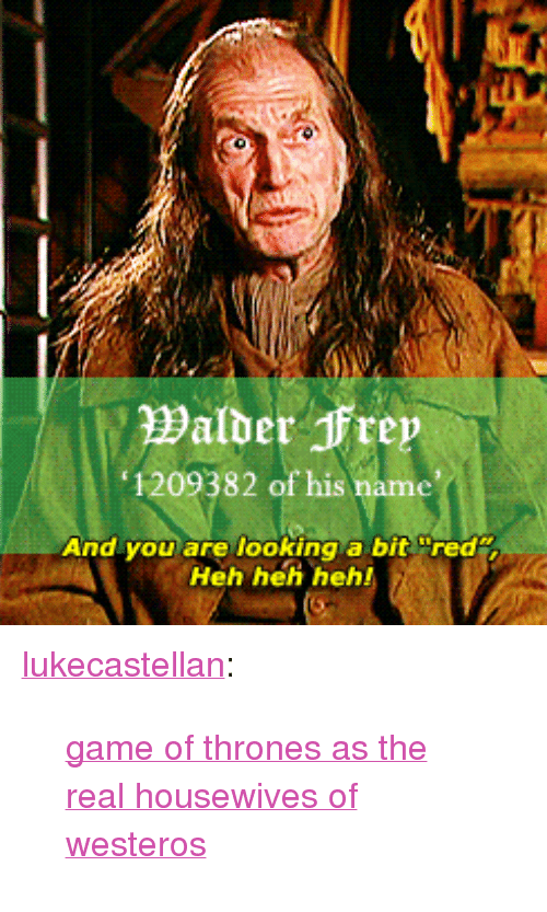 """Game of Thrones: 1209382 of his name  And you are looking a bit red  Heh heh heh! <p><a class=""""tumblr_blog"""" href=""""http://lukecastellan.tumblr.com/post/37146228745"""">lukecastellan</a>:</p> <blockquote> <p><a href=""""http://theonnojoy.tumblr.com/tagged/realgot"""">game of thrones as the real housewives of westeros</a></p> </blockquote>"""