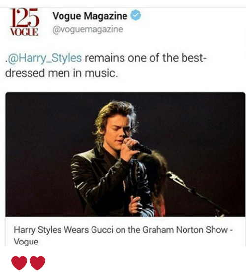 Gucci, Memes, and Music: 125 Vogue Magazine  VOGUE  Cavoguemagazine  @Harry Styles remains one of the best-  dressed men in music.  Harry Styles Wears Gucci on the Graham Norton Show  Vogue ❤️❤️