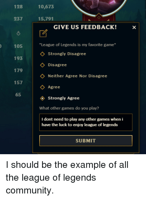 """Community, League of Legends, and Game: 128  10,673  237  15.791  GIVE US FEEDBACK!  """"League of Legends is my favorite game  105  193  179  157  65  Strongly Disagree  Disagree  Neither Agree Nor Disagree  Agree  Strongly Agree  What other games do you play?  I dont need to play any other games when i  have the luck to enjoy league of legends  SUBMIT"""