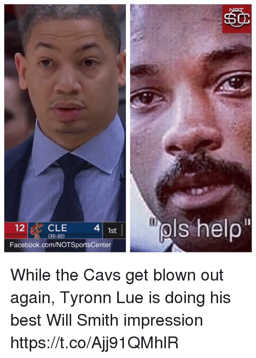 Cavs, Facebook, and Sports: 12CLE  4  1st  (30-20)  Facebook.com/NOTSportsCenter While the Cavs get blown out again, Tyronn Lue is doing his best Will Smith impression https://t.co/Ajj91QMhlR