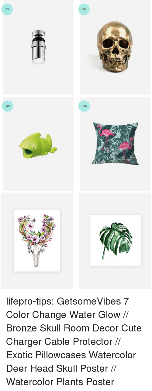 bronze: 13%  2196   -45%  -40% lifepro-tips:  GetsomeVibes   7 Color Change Water Glow //  Bronze Skull Room Decor   Cute Charger Cable Protector //  Exotic Pillowcases   Watercolor Deer Head Skull Poster //  Watercolor Plants Poster