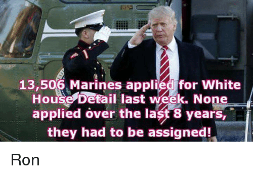 Memes, White House, and House: 13,506 Marines applied for White  House Detail last week. None  applied over the last 8 years, A  they had to be assigned! Ron