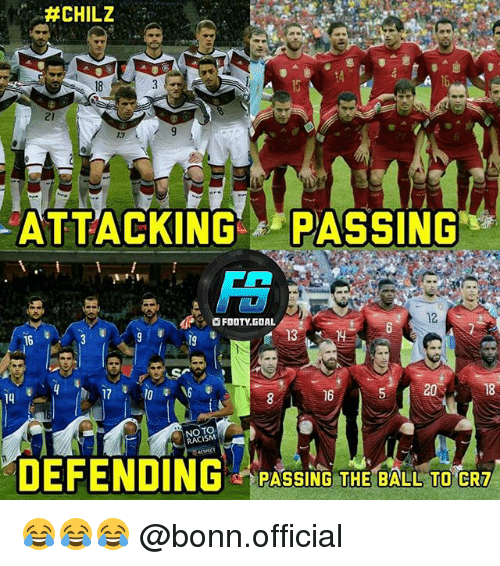 Memes, Racism, and Goal: 13  ATTACKING PASSING  FOOTY.GOAL  12  14  16  5 20  18  NO TO  RACISM  DEFENDING PASSIN THE BALL TO CRD  PASSING THE BALL TO CRT 😂😂😂 @bonn.official