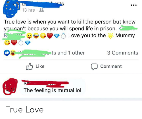 K Love: 13 hrs  True love is when you want to kill the person but know  yolu can't because you will spend life in prison. K  Love you to theMummy  rts and 1 other  3 Comments  b Like  Comment  The feeling is mutual lol True Love
