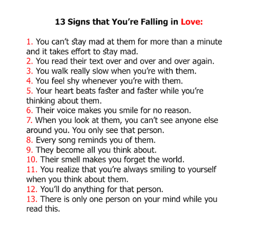 Signs you have fallen in love